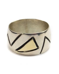 Ronnie Henry Joe - Navajo Sterling Silver and 14K Gold Ring c. 1970s, size 7 (J12581)
