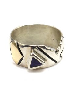 Ronnie Henry Joe - Navajo Sugilite, Sterling Silver, and 14K Gold Ring c. 1970s, size 7 (J12582)