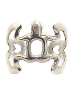 Navajo Sterling Silver Sandcast Bracelet c. 1960s, size 6 (J12589)