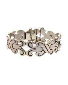 "Mexican Sterling Silver Link Bracelet c. 1980s, size 6.5"" (J12590)"