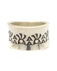 Norbert Peshlakai (b. 1953) - Navajo Silver Ring with Stamped Designs c. 2000s, size 7 (J12593)