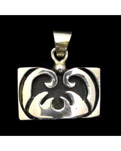 "Rubi Ramirez - Mexican Taxco Silver Overlay Pendant c. 1980s, 1.125"" x 1"" (J12601)"