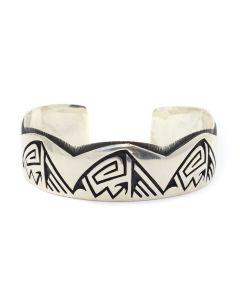 Delwyn Tawvaya - Hopi Contemporary Sterling Silver Overlay Bracelet, size 6.25 (J12650)