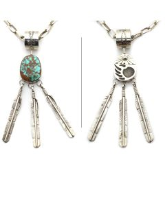 "Emma Bighand - Navajo Pilot Mountain Turquoise and Silver Double-Sided Swivel Pendant with Feather Dangles 4"" x 0.75"" and 24"" Chain c. 1980s4"