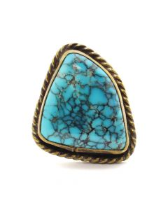 Ray Lovato (b. 1946) - Santo Domingo (Kewa) Turquoise and Brass Ring c. 1980s, size 7 (J12677)