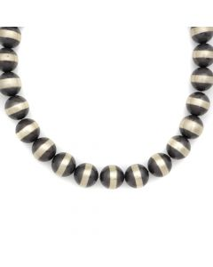 "Contemporary Two-Toned Silver Beaded Necklace, 18"" length (J12685)"