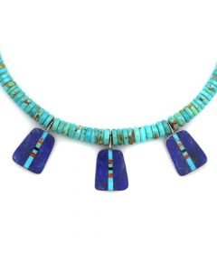 "David Aguilar - Santo Domingo (Kewa) Contemporary Multi-Stone Inlay and Turquoise Beaded Necklace, 16"" length (J12694)"