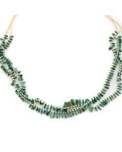 "Santo Domingo (Kewa) 2-Strand Turquoise and Heishi Necklace c. 1970s, 38"" length (J12696)"