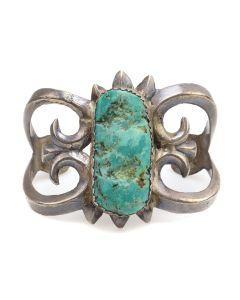 Navajo Turquoise and Silver Sandcast Bracelet c. 1940s, size 7 (J12699)