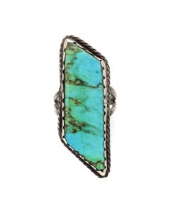 Navajo Turquoise and Silver Ring c. 1950s, size 5.75 (J12700)