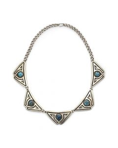 """Kenneth Begay (1913-1977) and White Hogan Shop - Navajo Turquoise and Sterling Silver Necklace c. 1960s, 16"""" length (J12706)"""