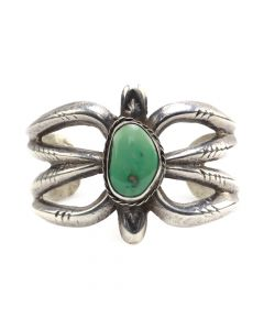 Navajo Turquoise and Silver Sandcast Bracelet c. 1940s, size 6.25 (J12709)