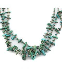 "Santo Domingo (Kewa) 3-Strand Turquoise and Heishi Necklace c. 1920s, 27"" length (J12714)"