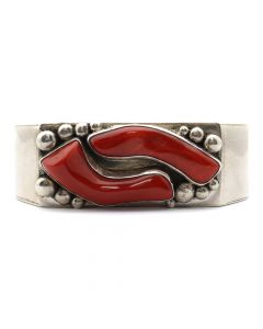 Jack Bly - Santo Domingo (Kewa) Contemporary Coral and Sterling Silver Bracelet, size 6.75 (J12715)