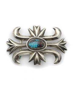 "Wilson and Carol Begay - Navajo Bisbee Turquoise and Silver Sandcast Belt Buckle c. 1960s, 2.5"" x 3.625"" (J12716)"