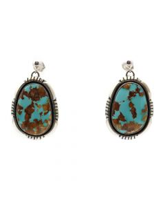 "Joe Delgarito - Navajo Contemporary Royston Turquoise and Sterling Silver Post Earrings, 1.375"" x 0.75"" (J12717)"