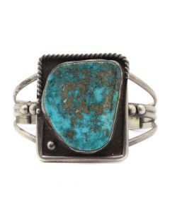 Navajo Morenci Turquoise and Silver Bracelet c. 1940s, size 6.75 (J12722)