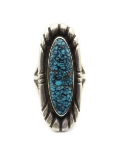 Kenneth Begay (1913-1977) and White Hogan Shop - Navajo Turquoise and Sterling Silver Ring c. 1960s, size 5 (J12731)
