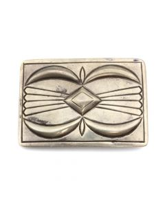 "Kenneth Begay (1913-1977) and White Hogan Shop - Navajo Sterling Silver Belt Buckle c. 1957, 2.25"" x 3.25"" (J12732)"