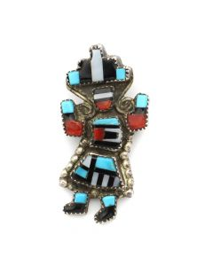 "Gillerimo Natachu - Zuni Multi-Stone Inlay and Silver Rainbow God Pin c. 1950-60s, 1.375"" x 0.75"" (J12737)"