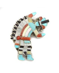 "Zuni Multi-Stone Channel Inlay and Silver Rainbow God Pin/Pendant c. 1960s, 1"" x 1.5"" (J12738)"