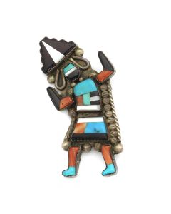 "Robert Lasiloo - Zuni Multi-Stone Inlay and Silver Rainbow God Pin c. 1950s, 1.25"" x 2.5"" (J12740)"