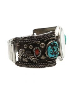 Navajo Turquoise, Coral, and Silver Watchband with Floral Design c. 1960s, size 6.75 (J12763)