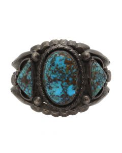 Tobe Turpen's Indian Trading Co. - Fred Thompson (1921-2002) - Navajo Lone Mountain Turquoise and Silver Bracelet c. 1940-50s, size 5.75 (J12788)