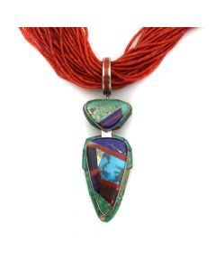 "Lyndon B. Tsosie (b. 1968) - Navajo Contemporary Multi-Stone Inlay and Silver Pendant with 34-Strand Heishi-Style Coral Necklace, 4.25"" x 1.25"" (J12795-CO)"