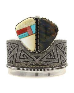Richard Tsosie (b. 1956) - Navajo Contemporary Multi-Stone Inlay and Silver Overlay Bracelet c. 1990s, size 6.25 (J12797-CO)