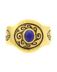 Philip Honanie - Contemporary Hopi Lapis Lazuli and 14Kt. Gold Overlay Bracelet with Wave Design, size 6.375 (J12799)