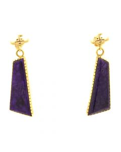 "Andy Lee Kirk (1947-2001) - Navajo Contemporary Sugilite and 14Kt Gold Post Earrings with Kachina Design, 1.625"" x 0.5"" (J12800)"