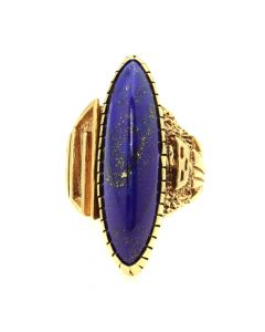 Andy Lee Kirk (1947-2001) - Navajo Contemporary Lapis Lazuli and 14Kt Gold Ring with Kachina Design, size 6.75 (J12802)