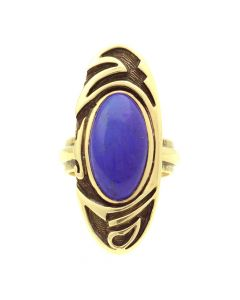Philip Honanie - Contemporary Hopi Lapis Lazuli and 14Kt. Gold Overlay Ring, size 7 (J12803)