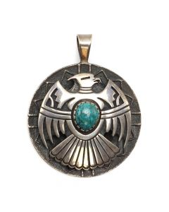 "Roy Talahaftewa - Hopi Turquoise and Sterling Silver Overlay Pendant with Thunderbird Design c. 1990s, 2.5"" x 2"" (J12808-CO)"