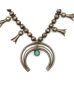 """Navajo Turquoise and Silver Squash Blossom Necklace c. 1940s, 23"""" length (J12825)"""
