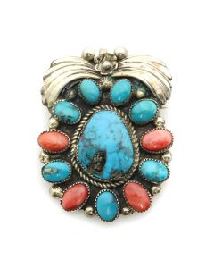 "Navajo Morenci Turquoise, Spiny Oyster, and Silver Pin/Pendant with Floral Design c. 1980s, 2"" x 1.5"" (J12845)"