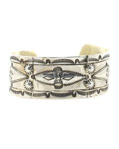 Navajo Silver Bracelet with Stamped Design c. 1920s, size 7.25 (J12846)