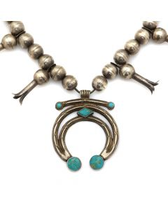 """Navajo Turquoise and Silver Squash Blossom Necklace c. 1920s, 26"""" length (J12847)"""