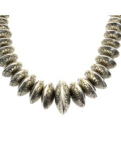 """Navajo Silver Beaded Necklace with Stamped Design c. 1950s, 22"""" length (J12850)"""