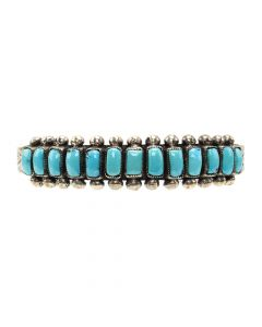 Navajo Turquoise and Silver Row Bracelet with Stamped Design c. 1950s, size 7.25 (J12851)