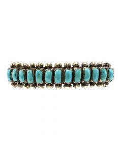 Navajo Turquoise and Silver Row Bracelet with Stamped Design c. 1950s, size 6.75 (J12852)