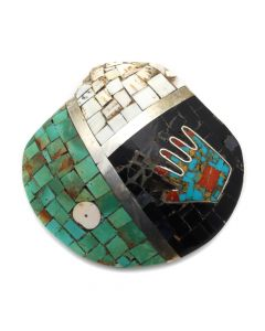 "Mary Lovato - Multi-Stone Mosaic Inlay and Silver Shell Pendant with Hand Design c. 1960s, 3.25"" x 3.25"" (J12856)"