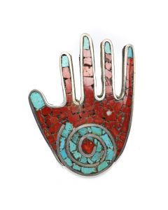 "Mary Lovato - Santo Domingo (Kewa) Coral and Turquoise Mosaic Channel Inlay and Silver Hand Pin/Pendant c. 1960s, 2.5"" x 2"" (J12858)"