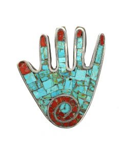 "Mary Lovato - Santo Domingo (Kewa) Turquoise and Coral Mosaic Channel Inlay and Silver Hand Pendant c. 2000, 2.5"" x 2.25"" (J12861)"