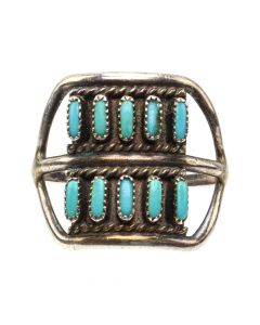 Zuni Petit Point Turquoise and Silver Ring c. 1950s, size 6.75 (J12867)