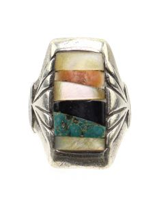 Zuni Multi-Stone Inlay and Silver Ring c. 1950-60s, size 11 (J12868)