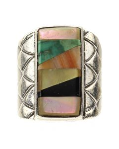 Zuni Multi-Stone Inlay and Silver Ring c. 1950-60s, size 10 (J12869)