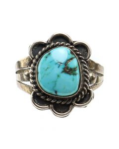 Navajo Turquoise and Silver Ring c. 1960s, size 4.75 (J12871)