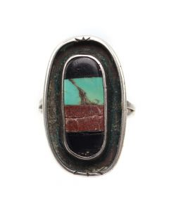 Zuni Multi-Stone Inlay and Silver Ring c. 1950-60s, size 8 (J12873)